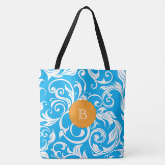 Turquoise Blue Floral Wallpaper Orange Monogram Tote Bag