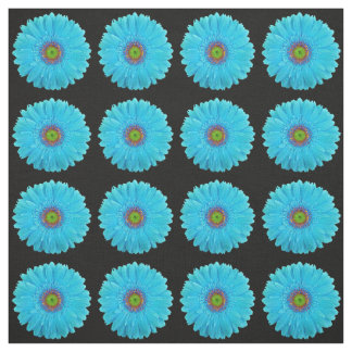 Turquoise Blue Gerbera Daisy Fabric