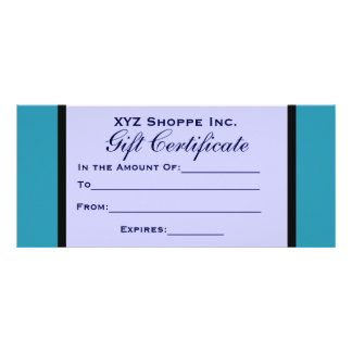 Turquoise Blue Gift Certificate Customized Rack Card