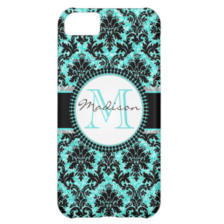 Turquoise blue glitter & black damask, Name iPhone 5C Cover