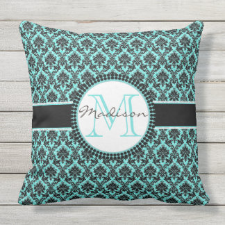 Turquoise blue glitter & black damask, Name Throw Pillow