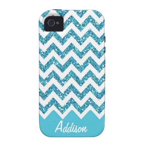 Turquoise Blue Glitter Chevron Name BLING Case iPhone 4 Case