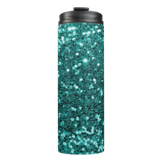 Turquoise Blue Glitter Faux Glitter Sparkle Thermal Tumbler