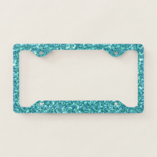 Turquoise-blue glitter pattern license plate frame