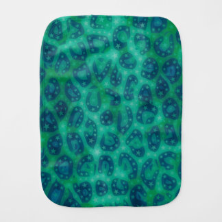 Turquoise Blue Glowing Cheetah Baby Burp Cloths