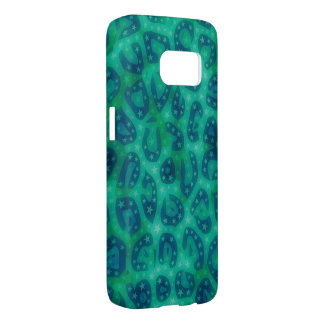 Turquoise Blue Glowing Cheetah Samsung Galaxy S7 Case