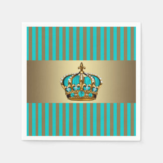 Turquoise Blue Gold Crown Prince Disposable Napkins