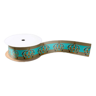 Turquoise Blue Gold Crown Prince Satin Ribbon