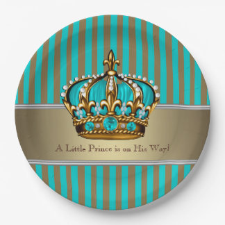 Turquoise Blue Gold Prince Baby Shower 9 Inch Paper Plate