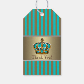 Turquoise Blue Gold Prince Gift Tags