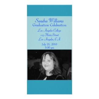 turquoise blue graduation customized photo card
