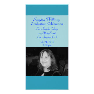 turquoise blue graduation picture card