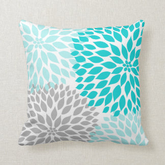 Turquoise blue Gray Dahlia mod decor sofa pillow