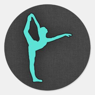 Turquoise; Blue Green Ballet Dancer Classic Round Sticker