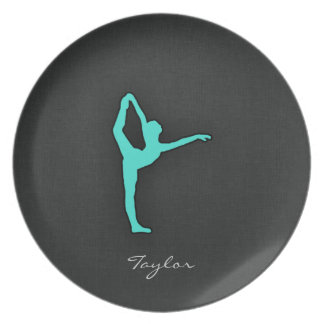 Turquoise; Blue Green Ballet Dancer Party Plate