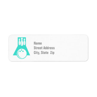 Turquoise; Blue Green Bowling Return Address Label