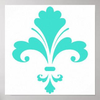 Turquoise, Blue-Green Fleur-de-lis Print