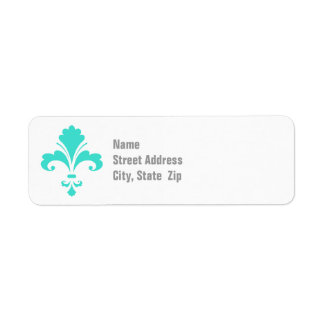 Turquoise, Blue-Green Fleur-de-lis Return Address Label