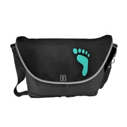 Turquoise, Blue-Green Footprint Messenger Bag