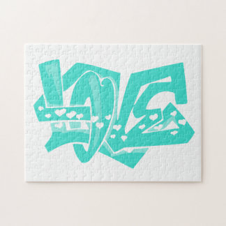 Turquoise; Blue Green Love Graffiti Puzzle