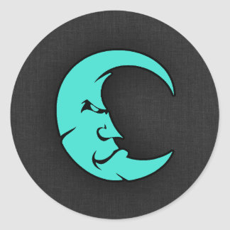 Turquoise, Blue-Green Moon Round Sticker