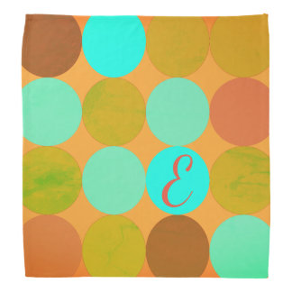 Turquoise Blue Green & Orange Circles Monogram Bandana