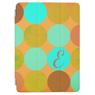 Turquoise Blue Green & Orange Circles Monogram iPad Air Cover