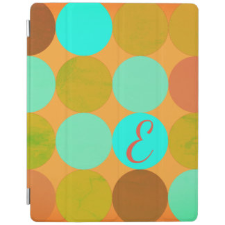 Turquoise Blue Green & Orange Circles Monogram iPad Cover