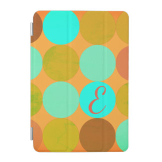 Turquoise Blue Green & Orange Circles Monogram iPad Mini Cover