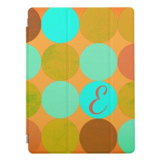 Turquoise Blue Green & Orange Circles Monogram iPad Pro Cover