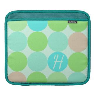 Turquoise Blue Green & Orange Circles Monogram iPad Sleeve