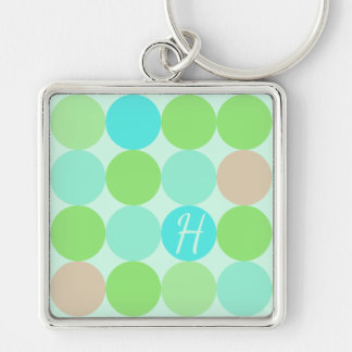 Turquoise Blue Green & Orange Circles Monogram Keychain