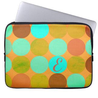 Turquoise Blue Green & Orange Circles Monogram Laptop Sleeve