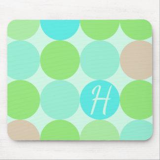 Turquoise Blue Green & Orange Circles Monogram Mouse Pad