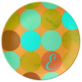 Turquoise Blue Green & Orange Circles Monogram Plate