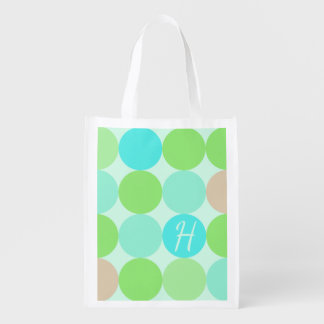 Turquoise Blue Green & Orange Circles Monogram Reusable Grocery Bag