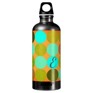 Turquoise Blue Green & Orange Circles Monogram Water Bottle