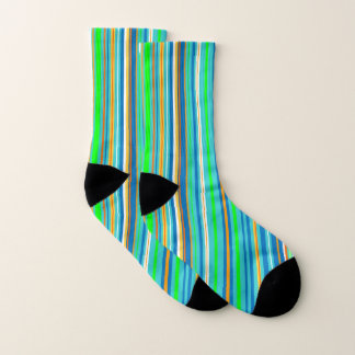 Turquoise Blue Green Orange Stripes Pattern Socks 1