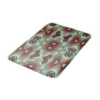 Turquoise Blue Green Orange Tribal Mosaic Pattern Bath Mat