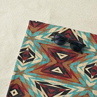 Turquoise Blue Green Orange Tribal Mosaic Pattern Beach Towel