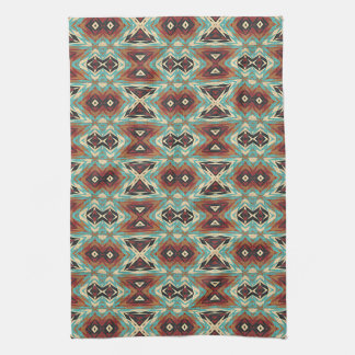 Turquoise Blue Green Orange Tribal Mosaic Pattern Kitchen Towel