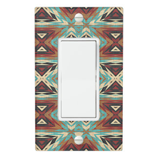 Turquoise Blue Green Orange Tribal Mosaic Pattern Light Switch Cover