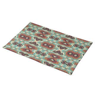 Turquoise Blue Green Orange Tribal Mosaic Pattern Placemat