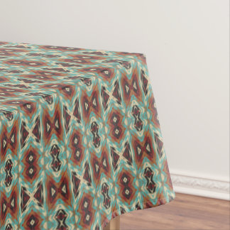 Turquoise Blue Green Orange Tribal Mosaic Pattern Tablecloth
