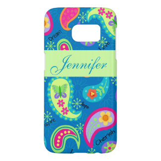 Turquoise Blue Green Paisley Name Personalized Samsung Galaxy S7 Case