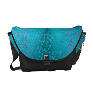 Turquoise  Blue Green Purple Music Notes Commuter Bag