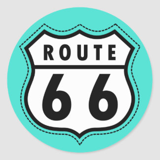 Turquoise, Blue-Green Route 66 Road Sign Classic Round Sticker