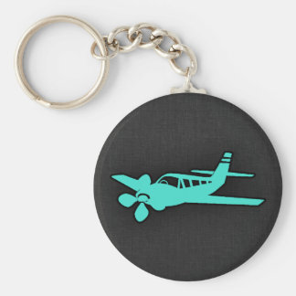 Turquoise; Blue Green Small Airplane Basic Round Button Keychain