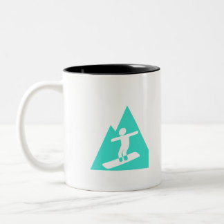 Turquoise; Blue Green Snowboarding Two-Tone Coffee Mug