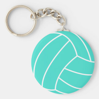 Turquoise; Blue Green Volleyball Basic Round Button Keychain